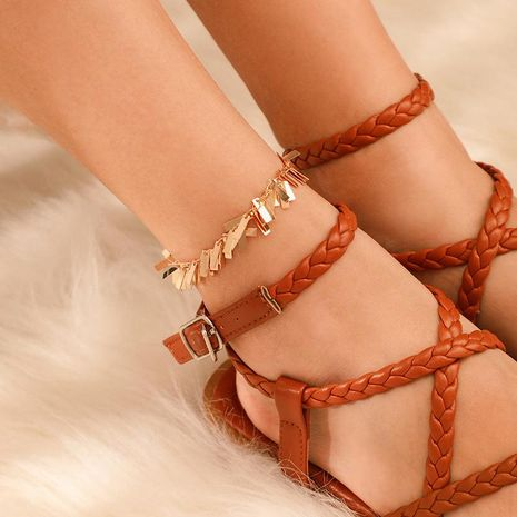 Alloy geometric rectangular sequined tassel anklet NHGY156932's discount tags