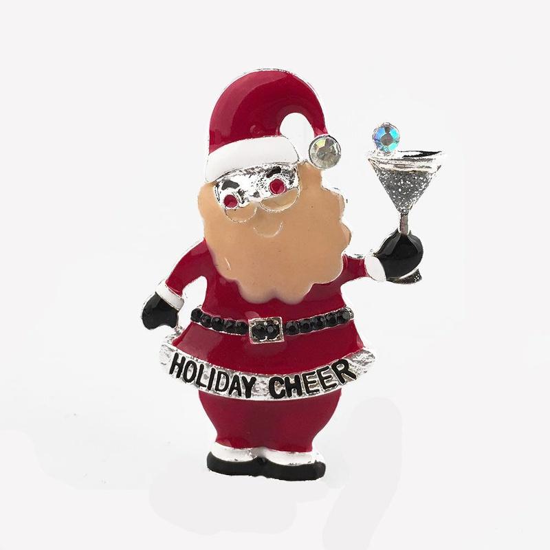 Christmas santa claus cartoon snowman holiday cheer brooch NHPV156936