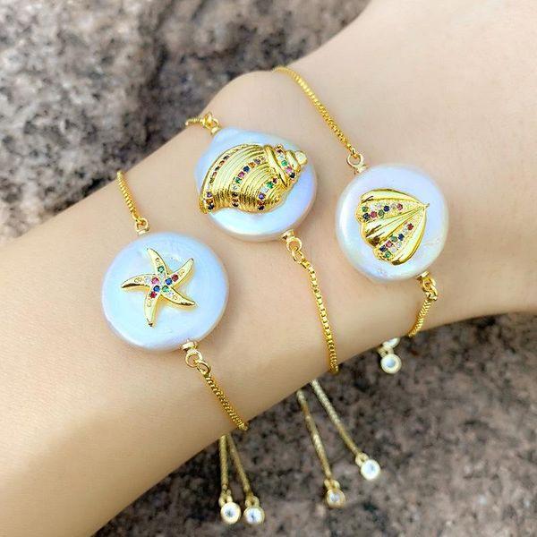Copper inlaid zircon pearl shell starfish bracelet NHAS156949