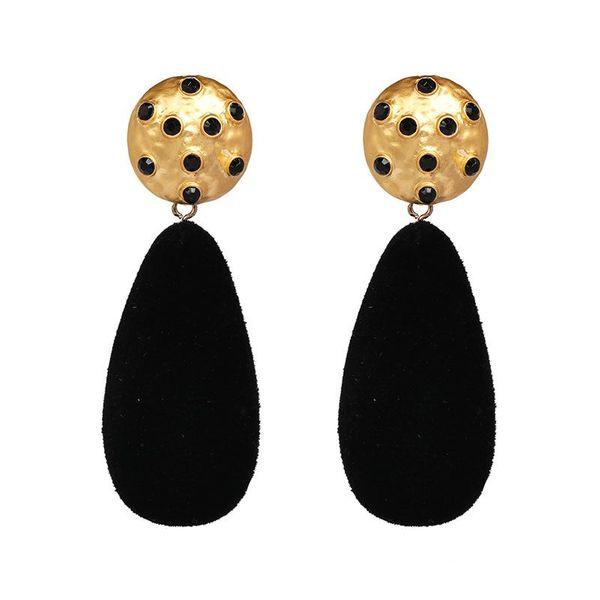 Black diamond drop-shaped earrings NHJJ156963
