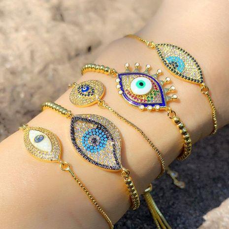 Drip oil color copper inlay zircon blue eye bracelet NHAS156964's discount tags