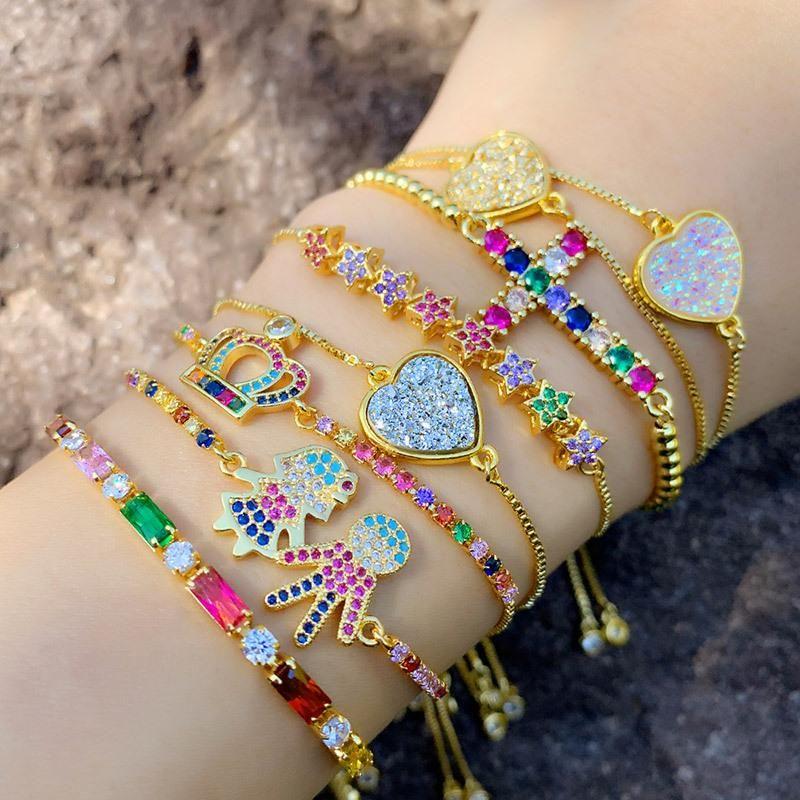 New Diamond Bracelet Shining Colored Zircon Heart Cross Crown Bracelet NHAS156965