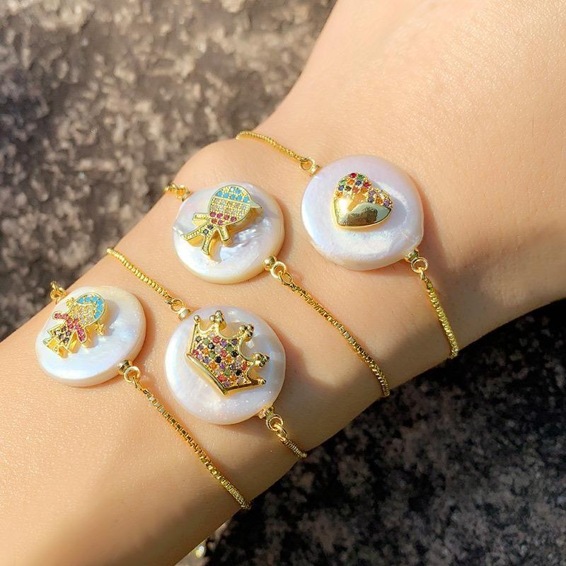 Heart-shaped crown zircon pearl pull bracelet NHAS156966