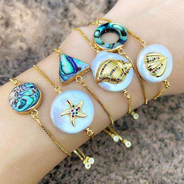 Round cutout triangle geometric bracelet NHAS156967