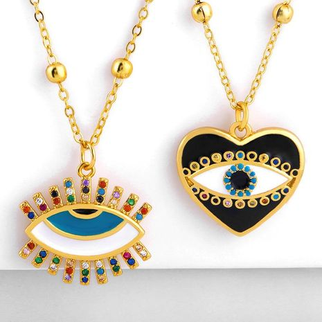 Fashion copper inlay zircon eye heart drop pendant necklace NHAS156968's discount tags