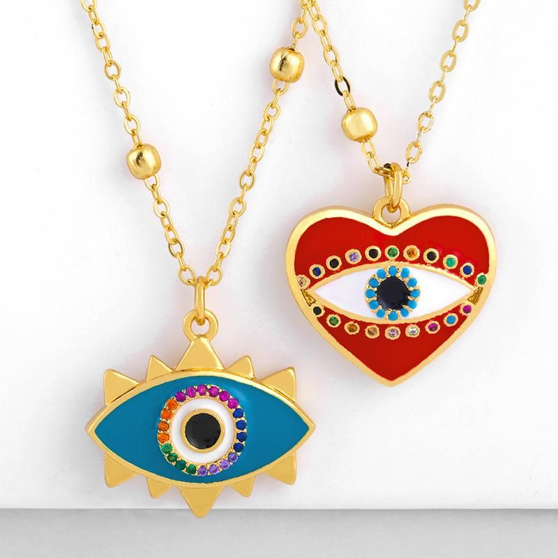 Simple heart-shaped copper inlay zircon drop pendant necklace NHAS156969