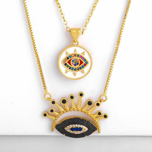 Fashion copper inlay zircon blue eye necklace NHAS156970