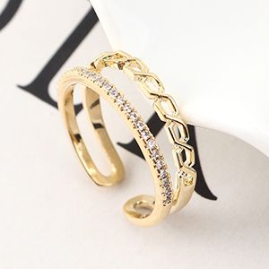 Copper & Zircon Ring Fashion NHSE383126