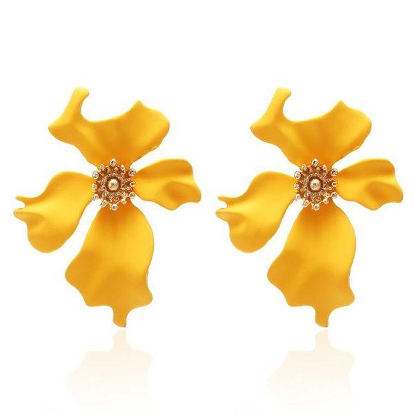 Simple painted flower stud earrings NHPF157110
