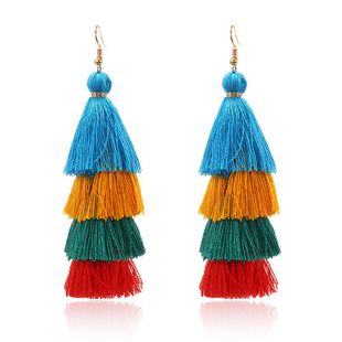 Stylish color multi-layer tassel earrings NHPF157111's discount tags