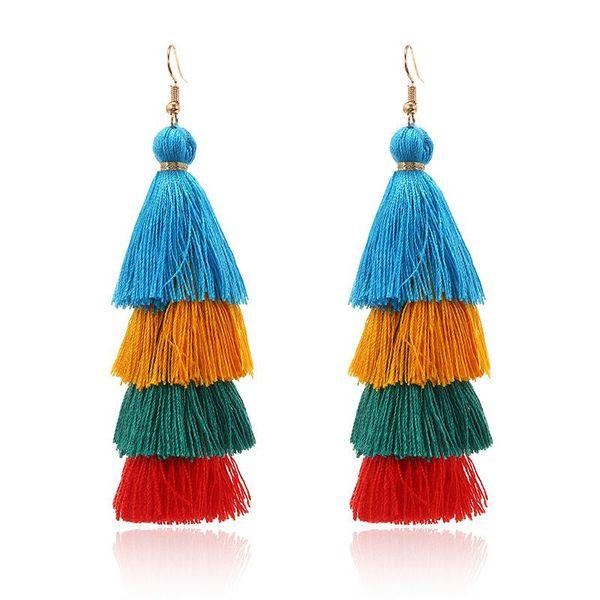 Stylish color multi-layer tassel earrings NHPF157111