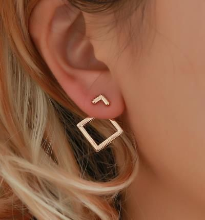 Simple alloy geometric diamond stud earrings NHPF157115