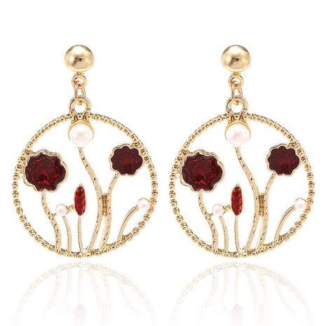 Metal openwork flower circle pearl earrings NHPF157132's discount tags