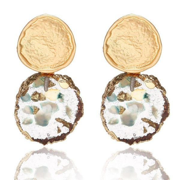 Colored shell irregular metal circle earrings NHPF157133