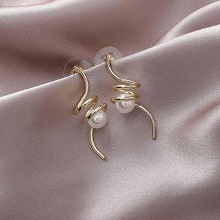 Metal-wound pearl earrings NHMS157135's discount tags