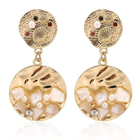 Alloy circle with pearl shell earrings NHPF157138's discount tags