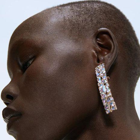 Rectangular rhinestone earrings NHJQ157146's discount tags