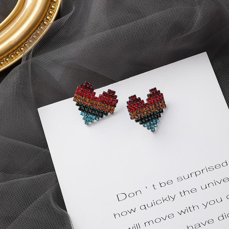 Colored rhinestone heart shaped earrings NHMS157151