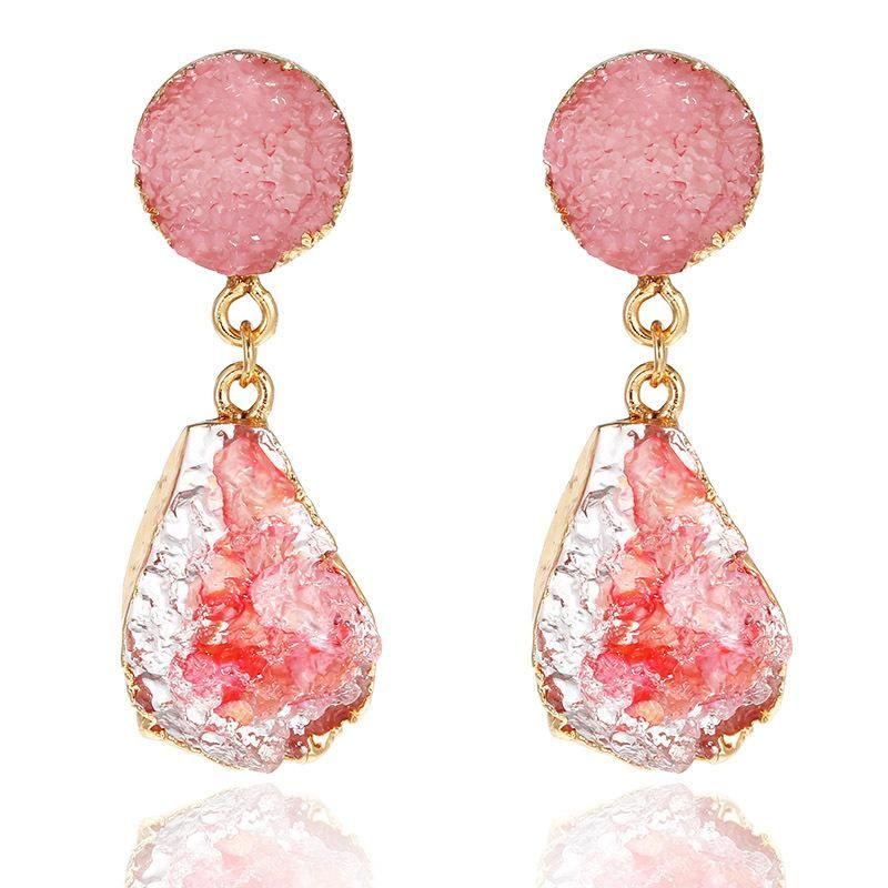 Imitation natural stone irregular earrings NHPF157153