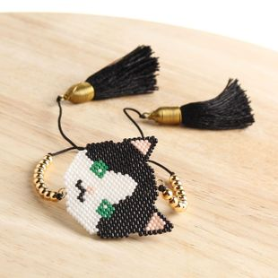 Hand-woven beads cat avatar pattern bracelet NHGW157165's discount tags