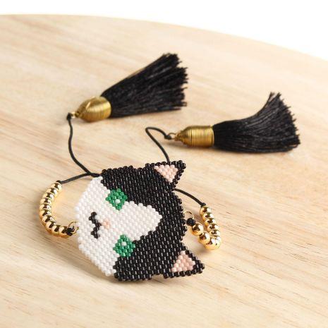 Hand-woven beads cat avatar pattern bracelet NHGW157165's discount tags