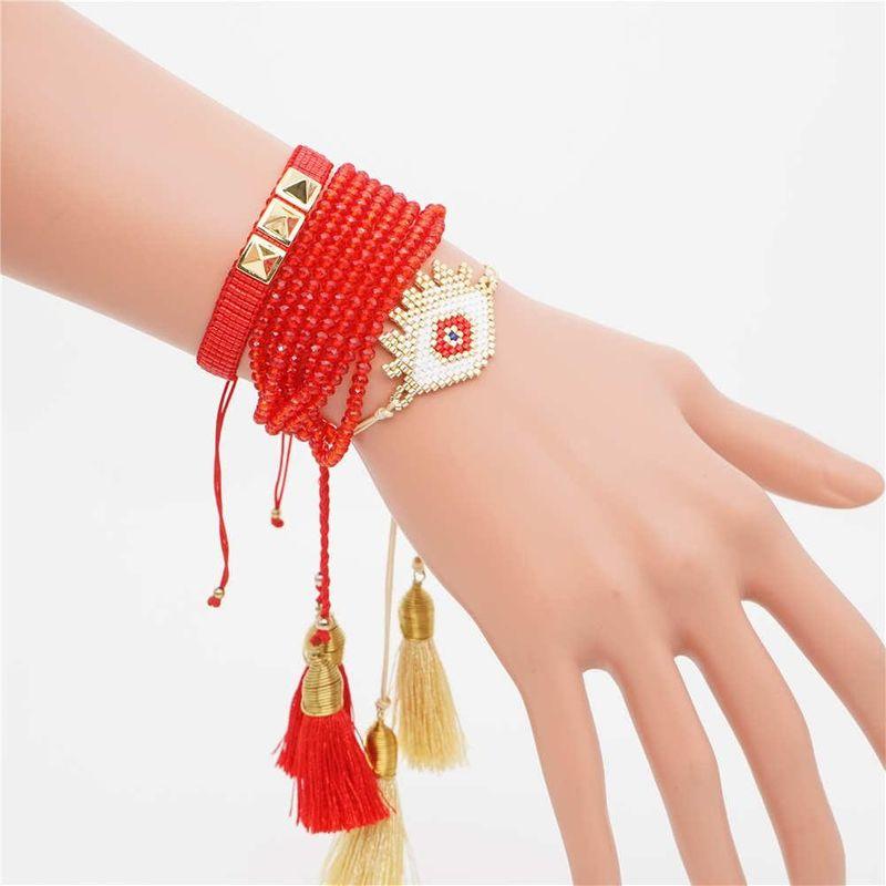 Miyuki Woven Rice Bead Eye Stud Crystal Bracelet NHGW157166