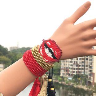Miyuki Woven Rice Bead Lips Bracelet NHGW157168's discount tags