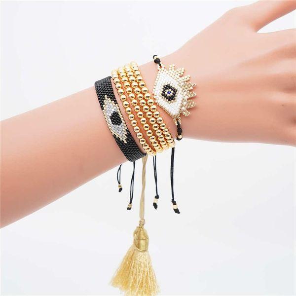 Devil Eye Female Miyuki Rice Bead Braided Bracelet NHGW157170