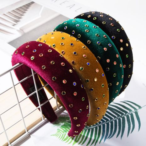 Fashion solid color gold velvet fabric with diamond sponge headband NHJE157180's discount tags