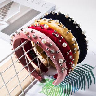 Gold velvet diamond round pearl ring headband NHJE157202's discount tags