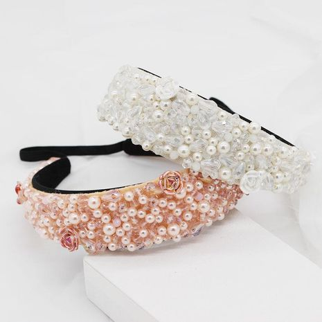 New European and American Baroque crystal porcelain flower headband NHWJ157208's discount tags