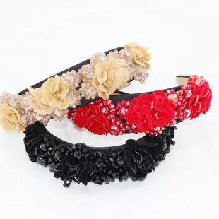 New Baroque Crystal Fabric Flower Headband NHWJ157210's discount tags