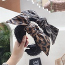 Leopard wool PU imitation leather bow headband NHSM157179