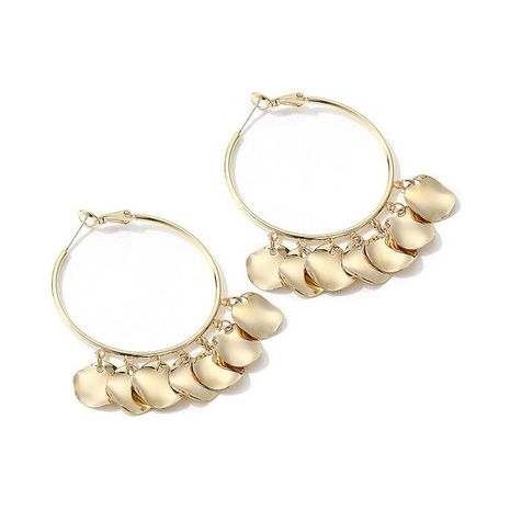 Vintage exaggerated ring metal earrings NHLL157215's discount tags