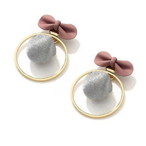 Fashion bow circle a pair of earrings NHLL157221's discount tags