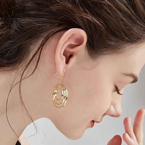 Fashion slim exaggerated metal circle alloy earrings NHLL157225's discount tags