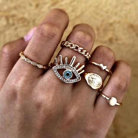 Retro Eye Love Joint Ring Set 6 Piece Set NHPJ157240's discount tags