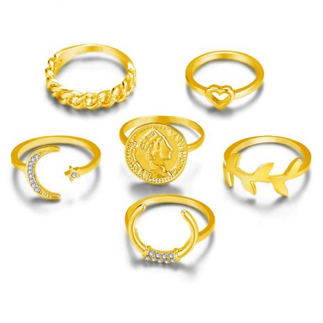 Vintage Coin Crescent Leaf Joint Ring Set 6 Piece Set NHPJ157247's discount tags