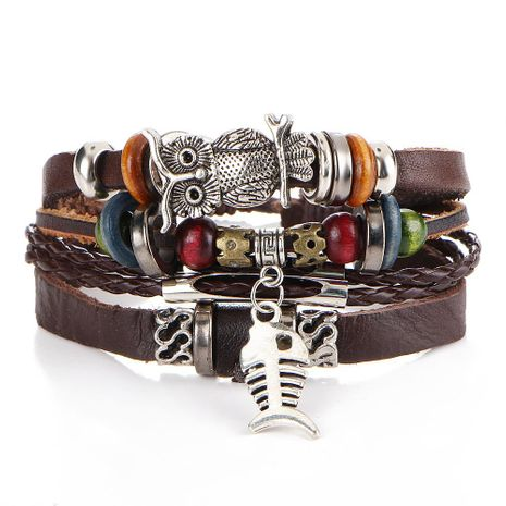 Vintage Beaded Leather Multilayer Alloy Bracelet NHPJ157253's discount tags
