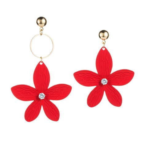 Creative spray paint flower alloy earrings NHLN157259's discount tags