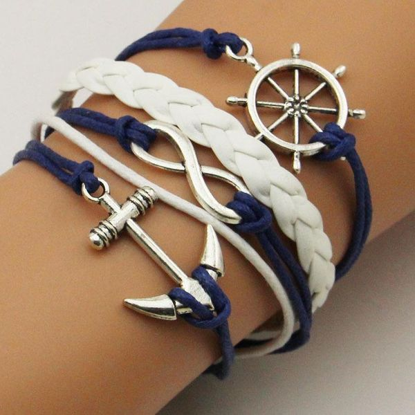 Fashion ancient silver anchor rudder infinity multi-layer leather bracelet NHPJ157262