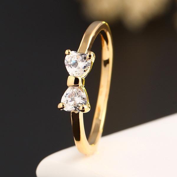 Korean zircon sweet bow ring NHPJ157264