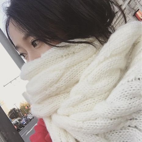 Long thick Korean winter knit scarf keep warm scarf NHMN157274's discount tags