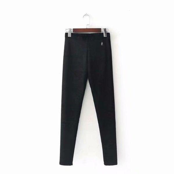 Cat retro velvet plus velvet black pants NHAM157281