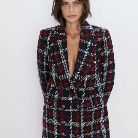 Autumn Plaid Double Breasted  Blazer NHAM157297's discount tags