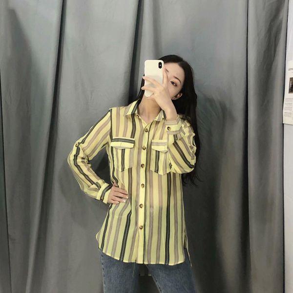 Striped printed silk long sleeve chiffon shirt NHAM157299
