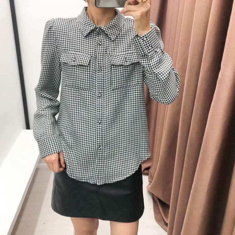 Fashion pockets with small fragrance houndstooth shirt NHAM157318