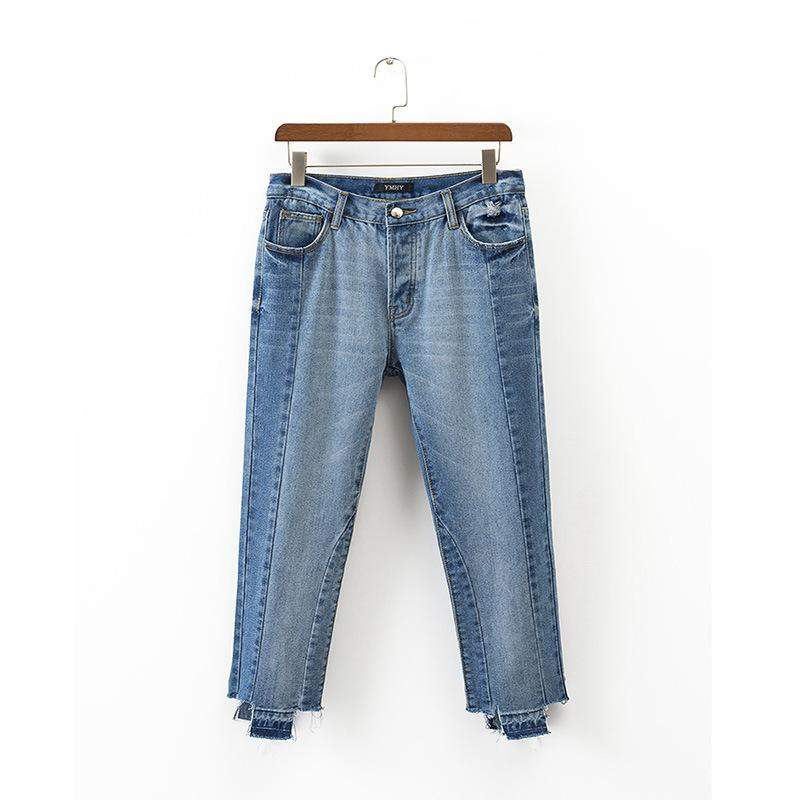 Splicing old pleated washed straight irregular nine-point jeans NHAM157319
