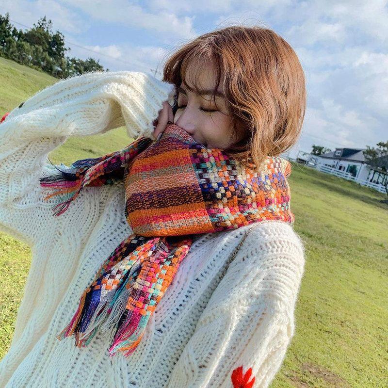 Long thick couple lovers acrylic warm tassel scarf NHMN157322