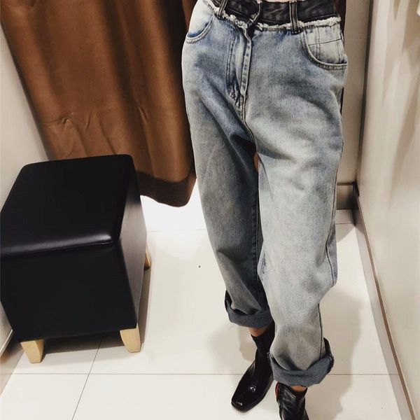 Autumn waist color matching raw straight jeans NHAM157326